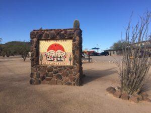 Outside the San Xavier Education Center in Tucson, Arizona.