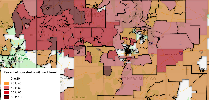 New NDIA maps show home Internet connection rates by Census tract throughout the U.S.